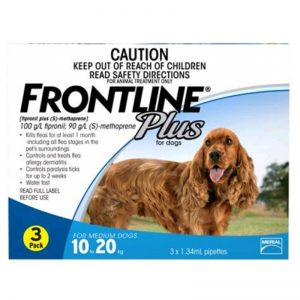 Frontline Plus for Dog Flea Treatment 3 pack (10-20kg) - 3 Stone Vets