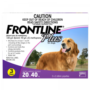 Frontline Plus for Dog Flea Treatment 3 pack (20-40kg) - 3 Stone Vets